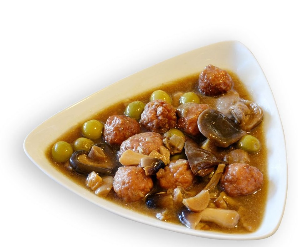 Meatballs with olives and Bordeaux mushrooms